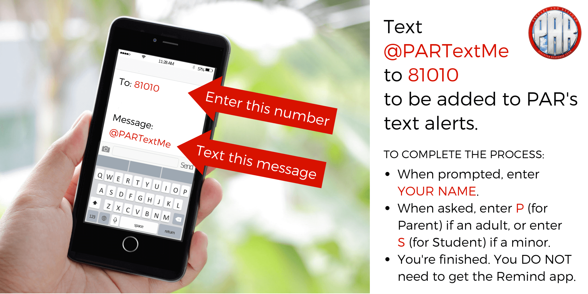 Sign up for PAR Text Alerts