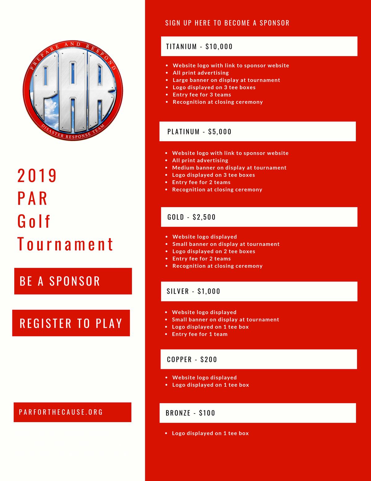 2019 PAR Golf Sponsorship